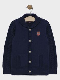 Gilet bleu avec col châle en tricot garçon SAPLIAGE / 19H3PGC2GIL705