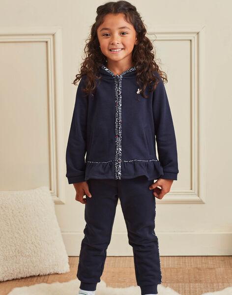 Jogging bleu marine à détails imprimés enfant fille BROJAETTE / 21H2PFF1JGB070