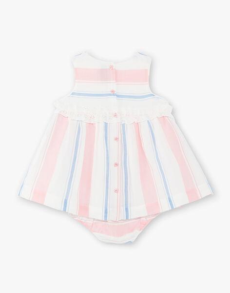 Robe à rayures bleues et roses et bloomer assorti bébé fille ZAPHOEBE / 21E1BFT1ROB001