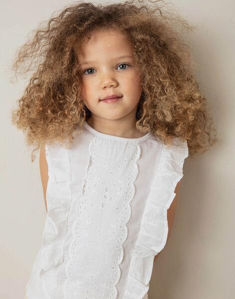 T-shirt blanc bi-matière broderie anglaise enfant fille ZITIZETTE / 21E2PFO2TMC000