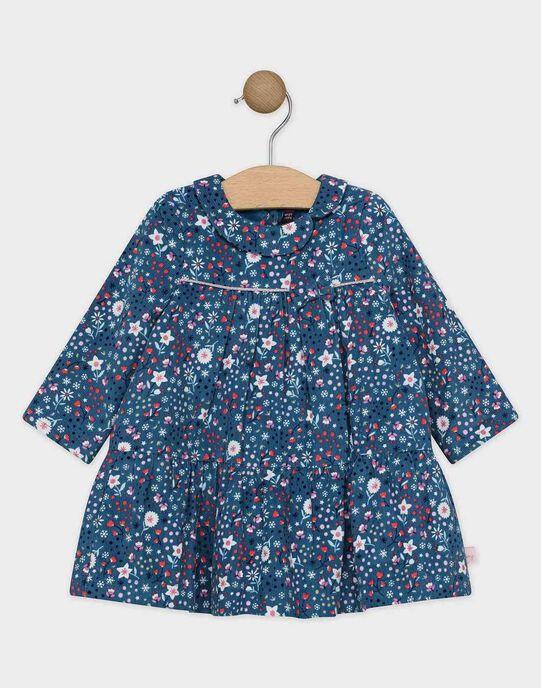 Robe en velours imprimée bleu canard bébé fille  SASTELLA / 19H1BFN1ROB715