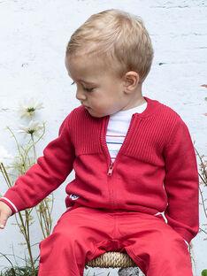 Gilet en maille côtelée rouge bébé garçon BABERNIE / 21H1BG11GIL050