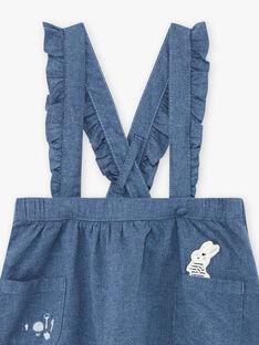 Jupe à bretelles bleu chiné à motif lapin enfant fille BYJUPETTE / 21H2PFL1JUP222