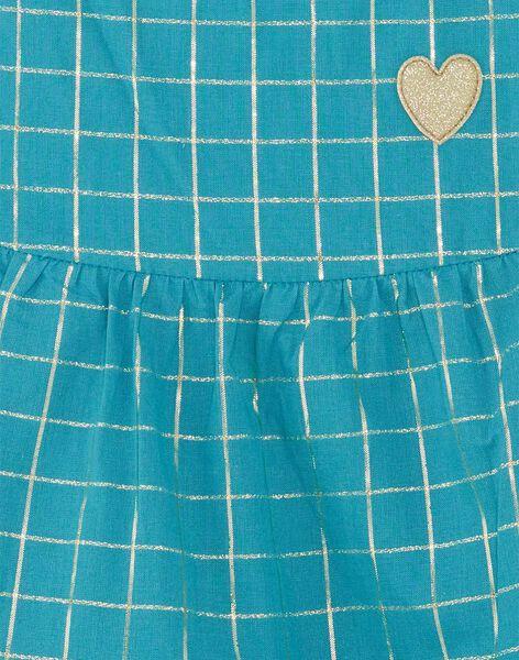 Robe à bretelles bleu turquoise et carreaux dorés enfant fille ZROBETTE 1 / 21E2PFW6RBSG603