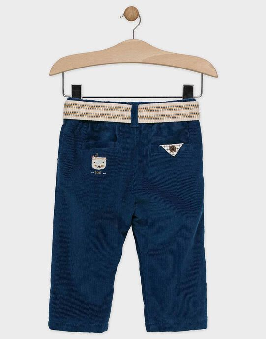 Pantalon bébé garçon bleu à ceinture amovible  SARAY / 19H1BGI2PANC235