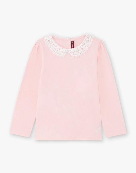 T-shirt manches longues rose pâle à col claudine enfant fille BROTOZETTE1 / 21H2PFB2TML321