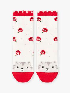Chaussettes écrues motif chat et fleurs enfant fille BASOCETTE / 21H4PF11SOQ001