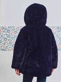 Doudoune réversible bleu marine fausse fourrure enfant fille BLODOUETTE2 / 21H2PFE1D3E705