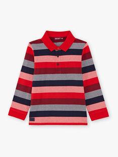 Polo rouge manches longues à rayures enfant garçon BUXAGE2 / 21H3PGB3POL050