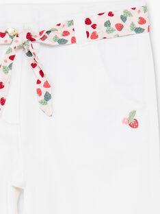 Pantalon corsaire écru avec ceinture imprimé ZOBILETTE / 21E2PFJ1PCO001