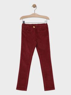 Pantalon velours pourpre fille SAVELETTE 2 / 19H2PFH1PANF511
