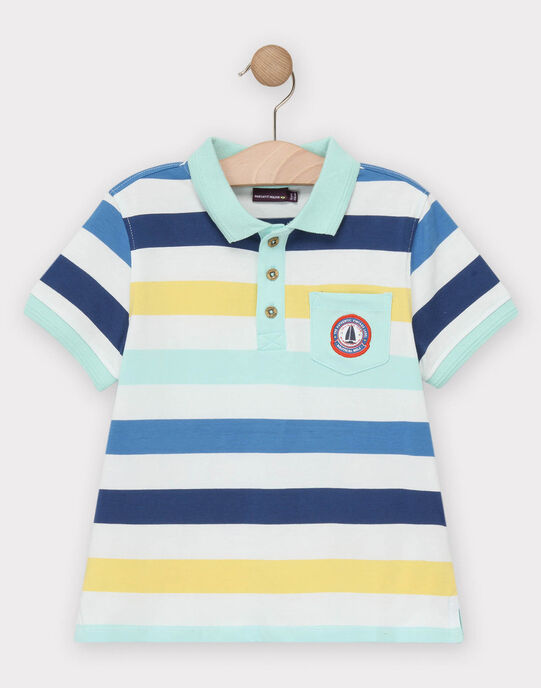 Polo manches courtes rayé bleu, blanc et turquoise garçon  TUPOLAGE 1 / 20E3PG91POLC242