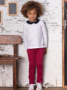 Pantalon bleu encre à carreaux enfant fille BROMILETTE2 / 21H2PFB2PANC214