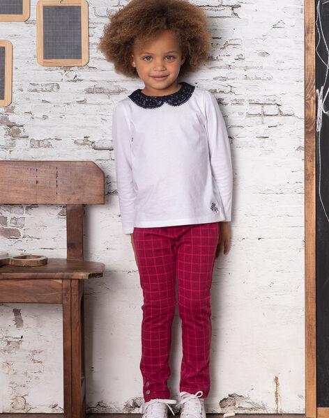 Pantalon bordeaux à carreaux enfant fille BROMILETTE2 / 21H2PFB2PANC214