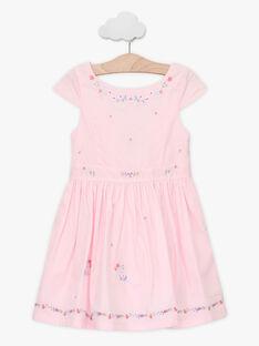 Robe patineuse rose brodée enfant fille TYNOETTE / 20E2PFJ3ROB321