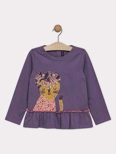 Tee-shirt fantaisie violine fille SOLOUVETTE / 19H2PF61TML712