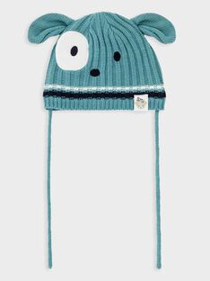 Bonnet bleu grisé en côtes bébé garçon TACALIN / 20E4BGC1BONG619