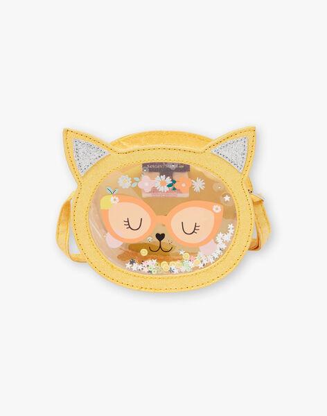 Sac bandoulière jaune tête de chat enfant fille ZITRONETTE / 21E4PFO1BESB104