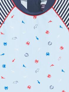 T-shirt de bain anti UV bleu imprimé créatures marines enfant garçon ZYUVAGE / 21E4PGR2TUVC218