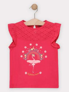 T-shirt rose avec flamant rose fille  TOTAETTE / 20E2PFG1TMC302