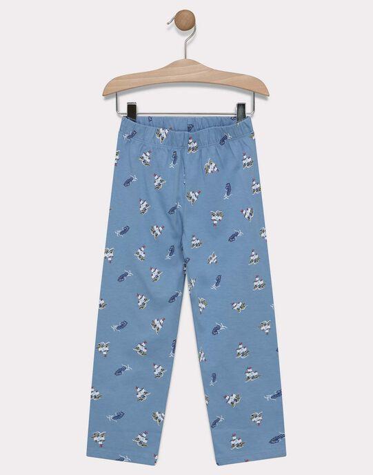 Pyjama marin en jersey uni et bas impression petit garçon  SEMARAGE / 19H5PG56PYJ943