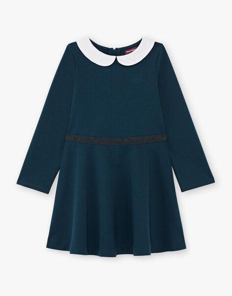 Robe manches longues bleu canard col claudine enfant fille BROCOLETTE3 / 21H2PFB1ROB714
