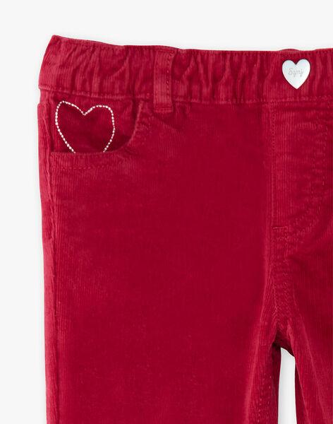 Pantalon rose framboise en velours côtelé  VELOURETTE 1 / 20H2PFG2PAND307