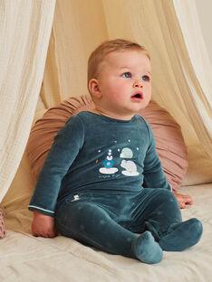 Grenouillère bleu de Chine en velours à motif animaux de la banquise bébé garçon BECELESTIN / 21H5BG74GRE720