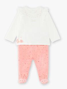 Pyjama en velours écru bébé fille VELILY / 20H5BF22PYJ001