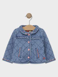 Cardigan matelassé en denim bleu bébé fille  TABARBARA / 20E1BFB2CARP269