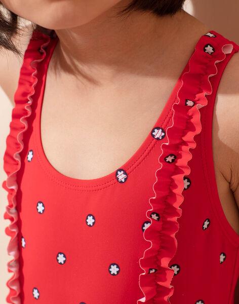 Maillot de bain 1 pièce rouge imprimé fleuri enfant fille ZAIZOETTE / 21E4PFR3D4K050