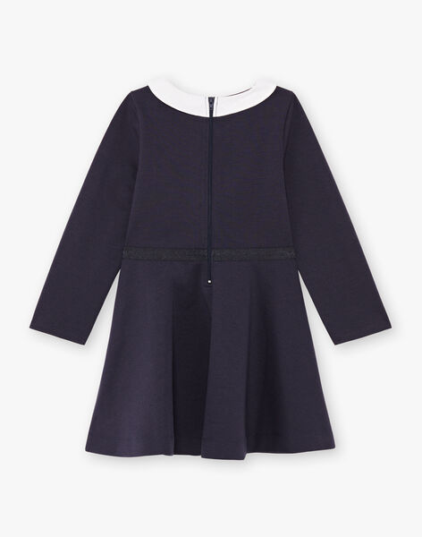 Robe manches longues bleu nuit col claudine enfant fille BROCOLETTE1 / 21H2PFB4ROBC214