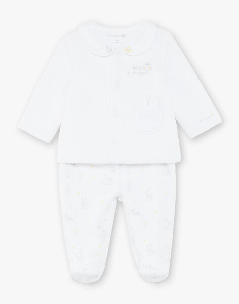Ensemble veste et pantalon en velours blanc bébé mixte ZOEDEN / 21E0NMG1ENS000