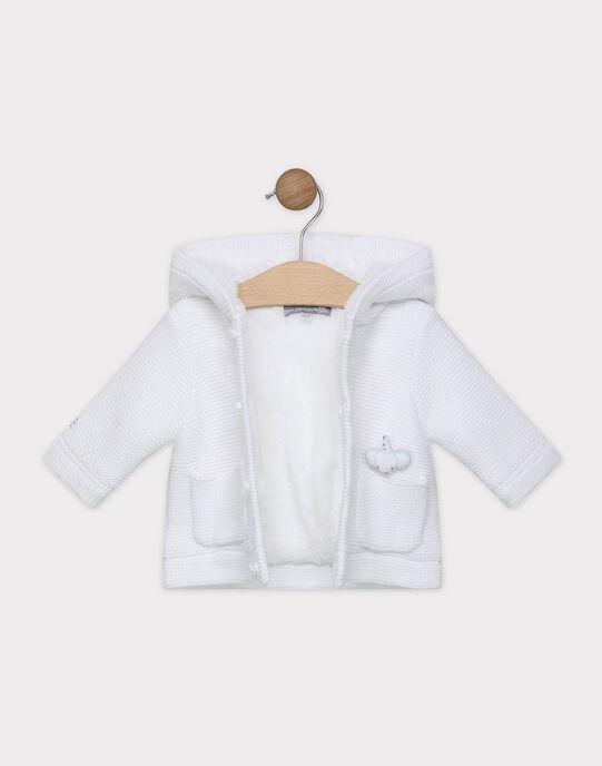 Veste en point mousse blanche bébé mixte SYARSENE / 19H0CM11VES000