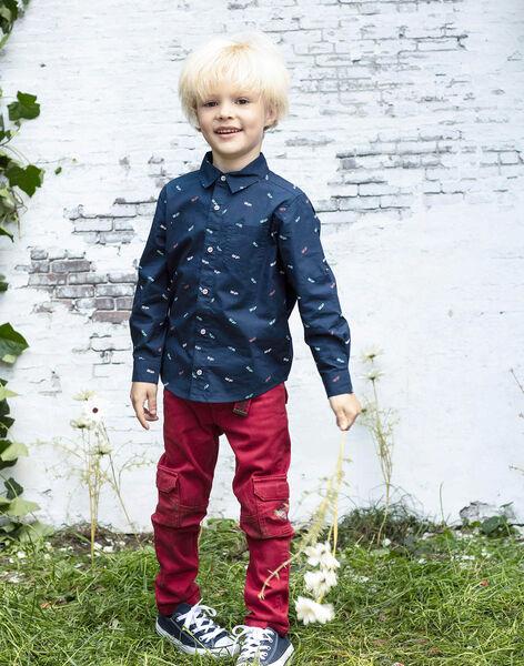 Pantalon rouge multipoches et ceinture enfant garçon BADAGE / 21H3PG11PAN050