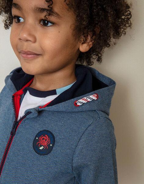Sweatshirt à capuche zippé bleu nuit enfant garçon ZIROFAGE / 21E3PGT1GILC214