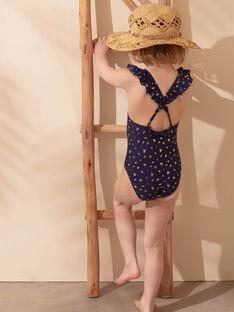 Maillot de bain 1 pièce bleu marine à imprimé fleuri enfant fille ZAIJOETTE / 21E4PFR4D4K216