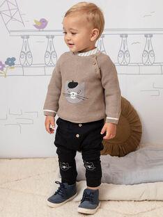 Pantalon noir uni motif ourson brodé bébé garçon BADAX / 21H1BG22PAN090