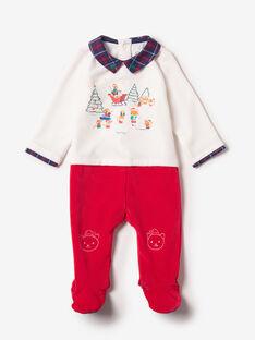 Grenouillère blanche et rouge bébé garçon  VUNOEL / 20H5BGK2GRE001
