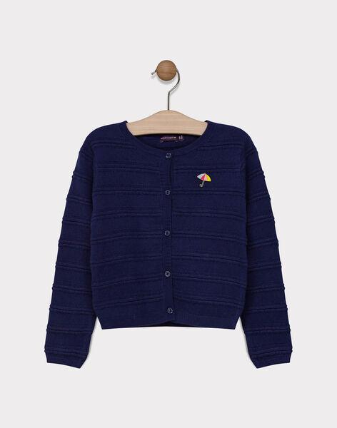 Cardigan en tricot fantaisie marine fille SIMORETTE / 19H2PF42CAR070