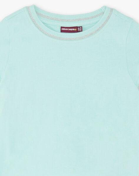 T-shirt bleu ciel manches courtes et col rond enfant fille ZLINETTE 4 / 21E2PFK4TMC614