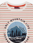 T-shirt manches longues écru à rayures enfant garçon BIFIAGE / 21H3PGJ2TML001