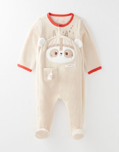 Grenouillère en velours bébé garçon VELOIC / 20H5BG35GRE080
