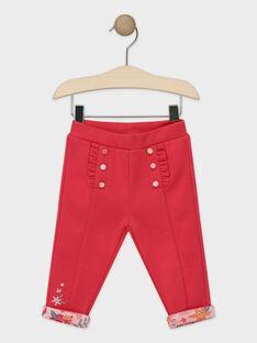 Pantalon en maille rose bébé fille TABABOU / 20E1BFB2PAN310