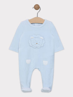 Dors bien bleu ciel brodé tête de lion en velours bébé garçon SYAWEN / 19H0NG11GRE218