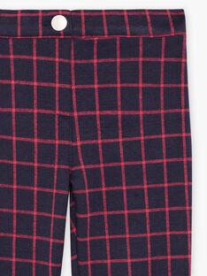 Pantalon bleu encre à carreaux rouge enfant fille BROMILETTE3 / 21H2PFB5PANC214