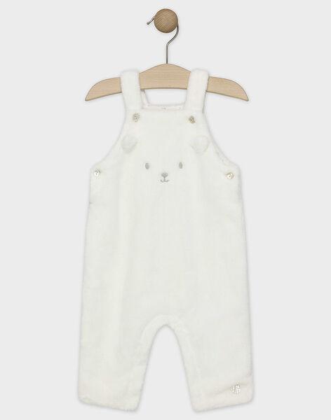 Salopette en fausse fourrure écru bébé mixte SYBAUTRY / 19H0CMM1SAL000