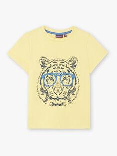 T-shirt manches courtes jaune imprimé tigre enfant garçon ZUZAGE2 / 21E3PGL1TMCB117