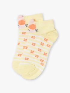 Chaussettes jaunes à rayures et imprimé fleuri enfant fille ZICALETTE / 21E4PFO1SOBB104