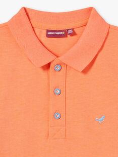 Polo manches courtes uni orange fluo enfant garçon ZYPOLAGE6 / 21E3PGW1POLE411